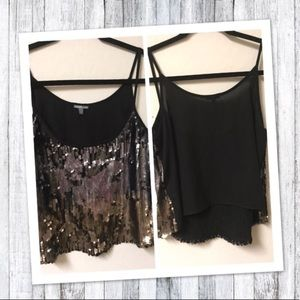 Charlotte Russe Sequin sheer blouse crop top SMALL